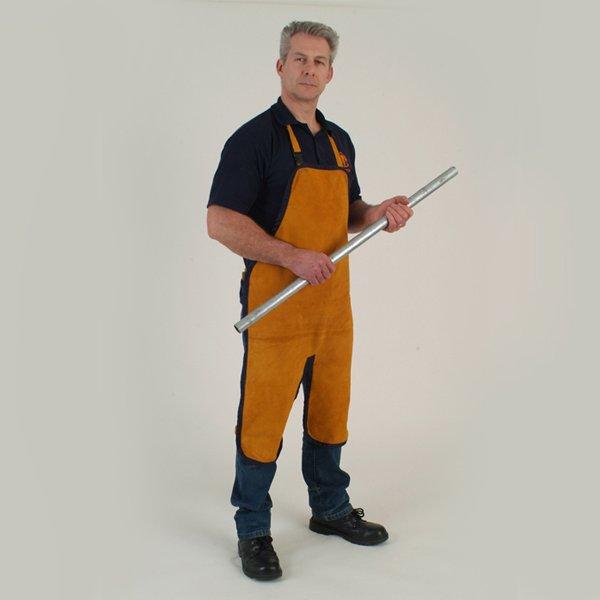 Welding apron chaps to knee