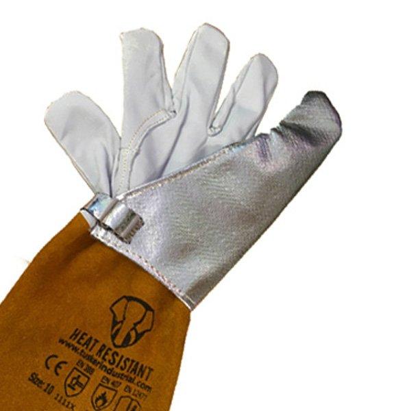 Tig welding glove finger heat shield aluminised